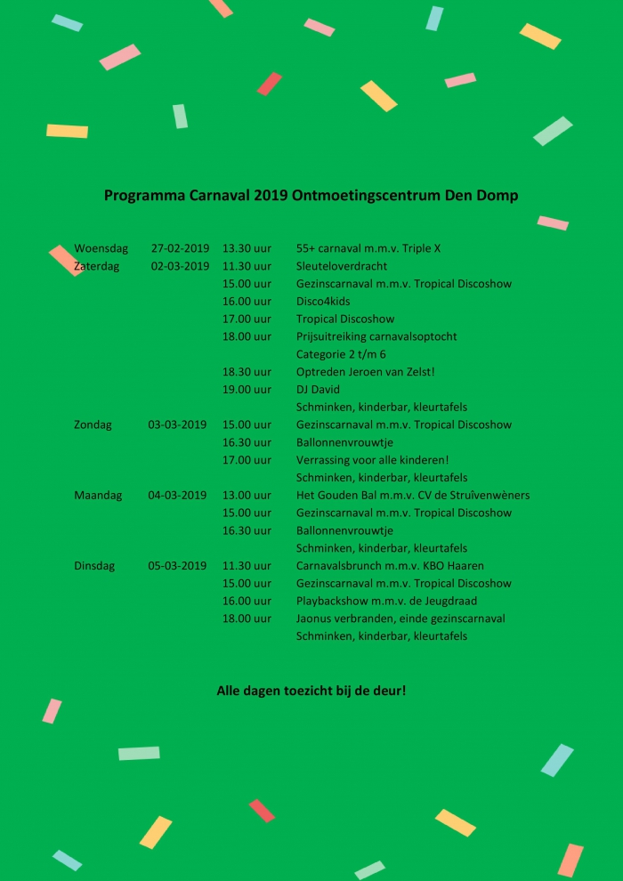 Carnavalsprogramma 2019 Ontmoetingscentrum Den Domp